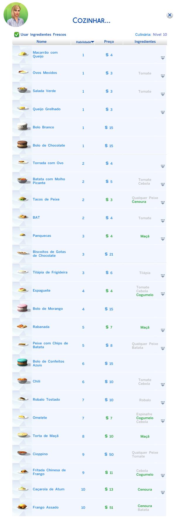 lista receitas the sims 4 - habilidade culinária