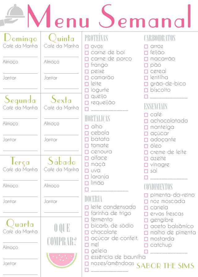 sts- menu semanal rosa